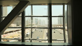 View of the road from the building windows. Dubai. View of the road from the building windows. Dubai stock video footage