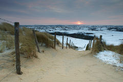 Road leading to the dunes at sunrise, Netherlands Stock Photos