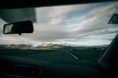 View on road in iceland during roadtrip stock photo