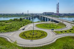 View of Kemerovo from the high right Bank of the river Tom stock image