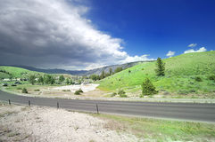 A View of a road at Mammoth Hot Springs Stock Image
