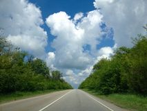 View at road in sunny day Royalty Free Stock Photos