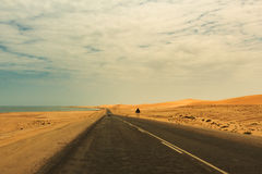 View from the road to the African dunes in the desert near the o Stock Photography