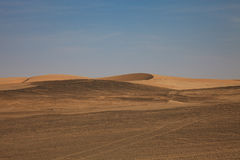 View from the road to the African dunes in the desert near the o Royalty Free Stock Photo