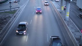View of the road traffic from the bridge.  stock video footage
