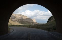 View Road Through Tunnell Scotts Bluff Nebraska Royalty Free Stock Photography