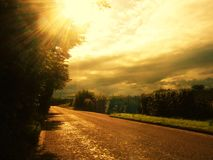 View of the road. View of the way the sun lit Royalty Free Stock Image
