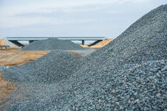 View road works trough  pile of gravel Stock Photo