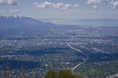 The roads above salt lake city valley stock photo