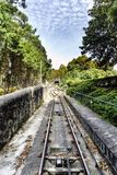 View of the roads of the Santa Lucia funicular in the upward direction. Detail of the point where the wagons go up and down and cl. Imb a vertical drop of 160 stock photo