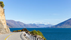 View on roadside at Lake Hawea Royalty Free Stock Photo