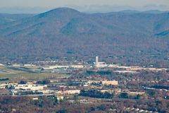 View a Roanoke – Blacksburg Regional Airport. Roanoke, VA – November 30th: A view from Mill Mountain of the Roanoke – Blacksburg Regional Airport on stock photography