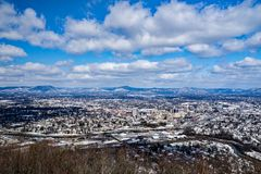 A View of the Roanoke Valley in the Winter with the Mountains in the Background Royalty Free Stock Images