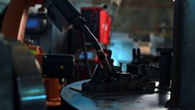 View of robot processes metal constructions stock video footage