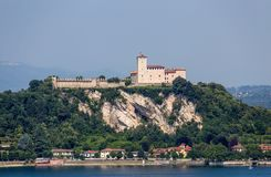 View of Rocca Borromea in Angera town, Angera, Maggiore Lake, Varese, Lombardy, Italy. royalty free stock photos