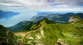 View from Rocher de Naye, Switzerland, towards Lake Leman. Royalty Free Stock Photo