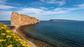 View on the Perce Rock from the Cap Mont-Joli, Perce, Quebec, Canada royalty free stock photos
