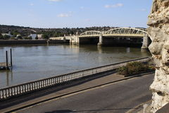 A view of Rochester Bridge from Rochester Castle grounds Royalty Free Stock Photo