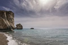 Aphrodite s Rock, Cyprus. Mediterranean, geology.  Holiday Destination Royalty Free Stock Photos