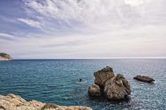 Aphrodite s Rock, Cyprus. Mediterranean, geology.  Holiday Destination Royalty Free Stock Photography