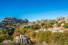 View at the rock formation El Torcal of Antequera - Spain. View at the rock formation El Torcal of Antequera in Spain royalty free stock photos