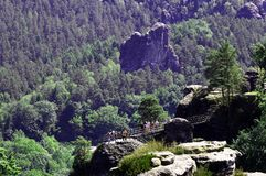 View of the rock formations in Germany Bastei Stock Image