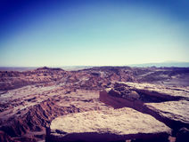 View of rock formations in the lunar valley in San Pedro de Atacama, Chile. Looking out over rock formations. Mars look. Otherworldly. View of the horizon. Halo Stock Photography