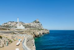 View of the rock of Gibraltar and the Ibrahim-al-Ibrahim Mosque King Fahd bin Abdulaziz al-Saud Mosque from Europa Point promena Stock Photos