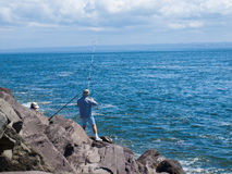 View from the Rock Jetty of Fisherman at Ocean Shores Washington Royalty Free Stock Image