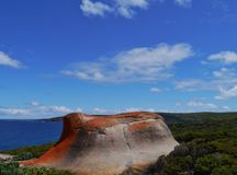 View of a rock with orange lichen Stock Images
