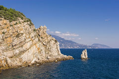 View on the rock sail from. Gaspra in the Crimea Stock Photos