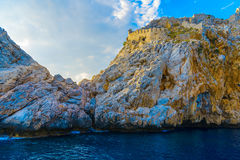 View on rock and sea from seaside. In Alanya, Turkey stock photos