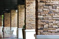 View of Rockbrick Pillars. In a Mall in Thailand Royalty Free Stock Photography