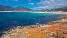 View of the beach at Wineglass Bay. View from rocks of the beach at Wineglass Bay is Tasmania, Australia Royalty Free Stock Photo