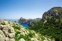 View of Cap Formentor in Mallorca, Spain. View of the rocks and Cap Formentor in Mallorca, Spain Stock Photos