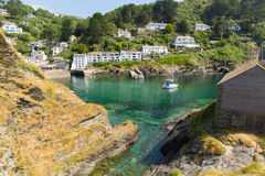 View from rocks at entrance to Polperro Cornwall England Royalty Free Stock Image