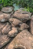 View of rocks of the Lucala river, in the water bodies of Kalandula, with signatures carved in the rocks of tourists who pass royalty free stock photography