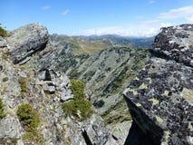 View through the rocks in Rila Mountains stock photo