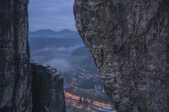 Village between rocks. Royalty Free Stock Photo