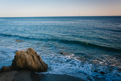 View of rocks and waves in the Pacific Ocean at El Matador State. Beach, Malibu, California Royalty Free Stock Images