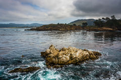 View of rocks and waves in the Pacific Ocean at Point Lobos Stat Royalty Free Stock Images