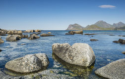 View of the rocky beach Lofoten. Norway Stock Photography