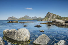 View of the rocky beach Lofoten. Norway Stock Images