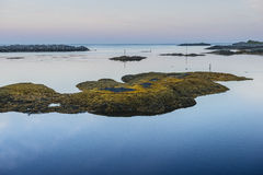 View of the rocky beach Lofoten. Norway Royalty Free Stock Photography