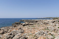 View of the rocky coast in Menorca, Balearic Islands, Spain Royalty Free Stock Photography