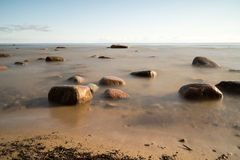 View of a rocky coast in the morning Royalty Free Stock Photo