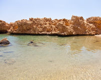 View of the rocky coast of the Red Sea from the sea. tinted Stock Image