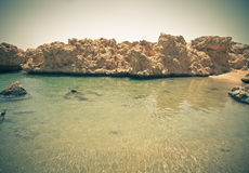 View of the rocky coast of the Red Sea from the sea. tinted Royalty Free Stock Images