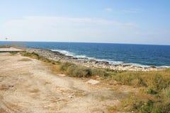 View of the rocky coastline near St. Julian`s.  Stock Photos