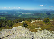 View from rocky formation in Jeseniky mountain - hills, trees, v stock images